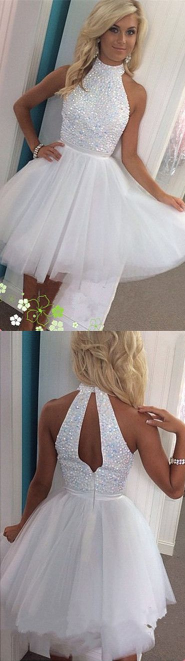2016 short white homecoming dress, high-neck white beads homecoming dress, evening dress, party dress