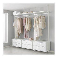 IKEA - ELVARLI, 3 seksjoner, Du kan tilpasse eller supplere denne åpne løsningen når det trengs. Kanskje kombinasjonen vi har foreslått passer perfekt, men hvis ikke, så kan du alltids skape din egen.Hylleplater og garderobestenger som kan flyttes gjør det enkelt å tilpasse avstanden mellom dem etter behov.Innebygde dempere tar imot skuffene, slik at de lukkes stille og mykt.Du kan velge mellom å plassere den åpne oppbevaringsløsningen mot en vegg eller bruke den som romdeler, siden stolpene…