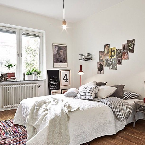 .@Fouremptywalls | Bedroom inspiration. Styled by @INTRO INRED Picture source stadshem.se #stadsh...