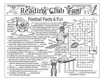 SUPER BOWL Fun - Football Facts & Fun; Includes - 2-page activity set; Football Fever word search puzzle.