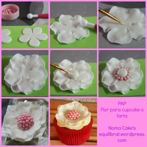 tutorial flor perlas cupcakes tartas