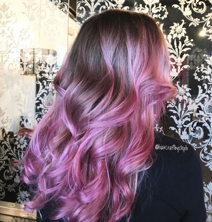 Pink balayage color melt done by Stephanie D'Angelo at