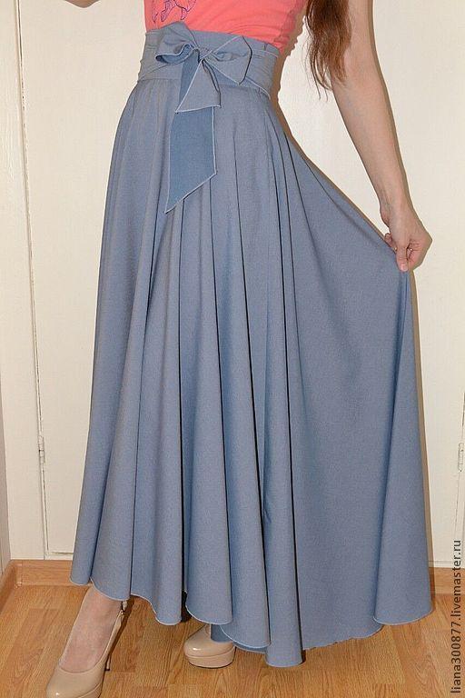 Купить Юбка с бантом. - голубой, однотонный, юбка длинная, юбка-солнце, бант, пояс, хлопок