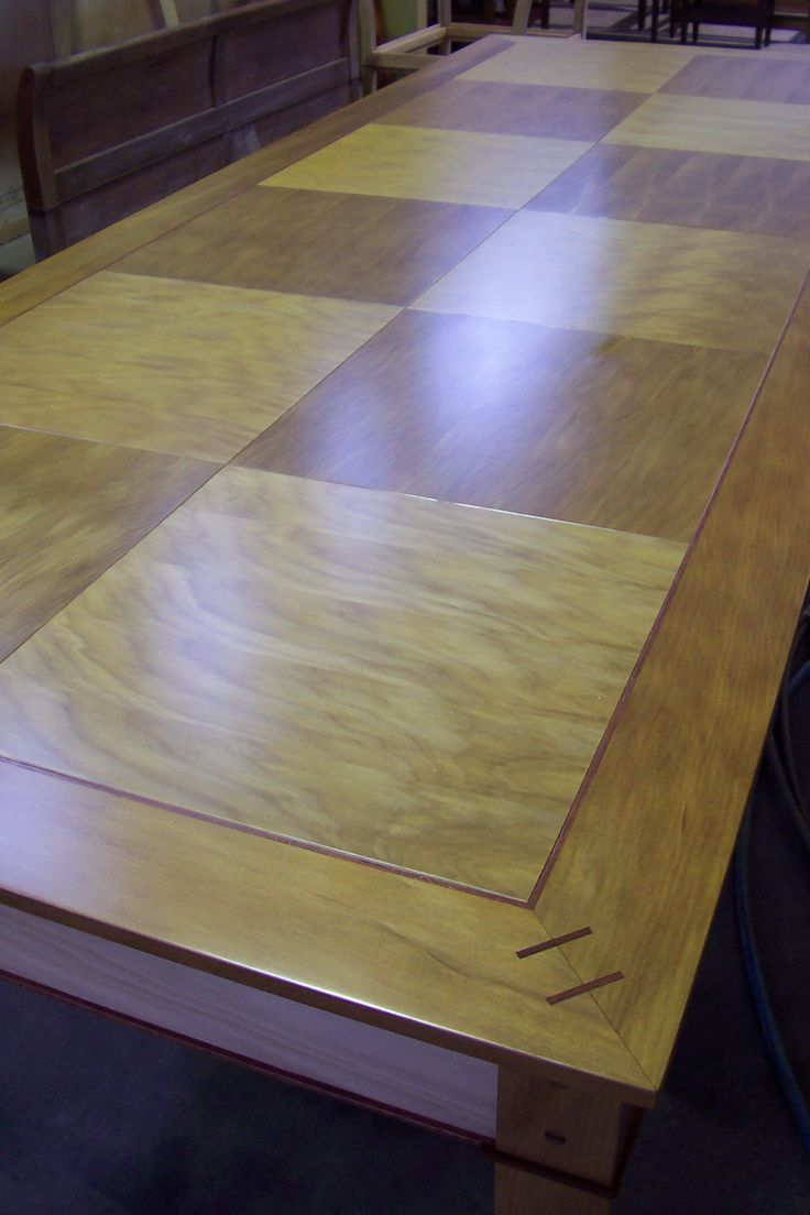 Inlaid Parquet Dining Table in NZ Kauri by Rose and Heather
