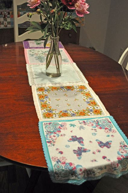 Lovely Vintage Hankie Spring Table Runner- time to hit the thrift stores!