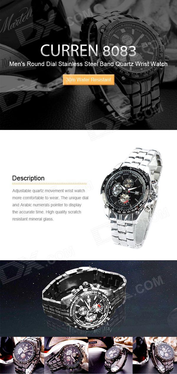 CURREN 8083 Men's Round Dial Stainless Steel Band Quartz Wrist Watch w/ Calendar - Black + Silver - Free Shipping - DealExtreme