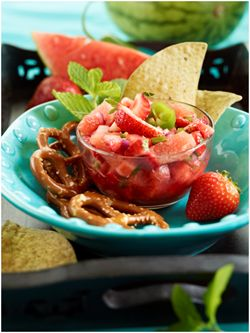 Watermelon Strawberry Mint Salsa Recipe.  Cut the pieces large and this turns into a great salad.