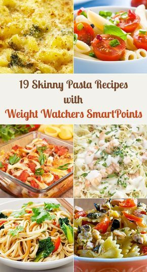 19 Skinny Pasta Recipes with Weight Watchers SmartPoints including Macaroni and Cheese, Greek Penne Pasta, Lasagna, Baked Spaghetti, Linguine, Pasta Shells, Fettuccine Alfredo, Chicken Cacciatore, Japanese Stir Fry, Carbonara, and more!