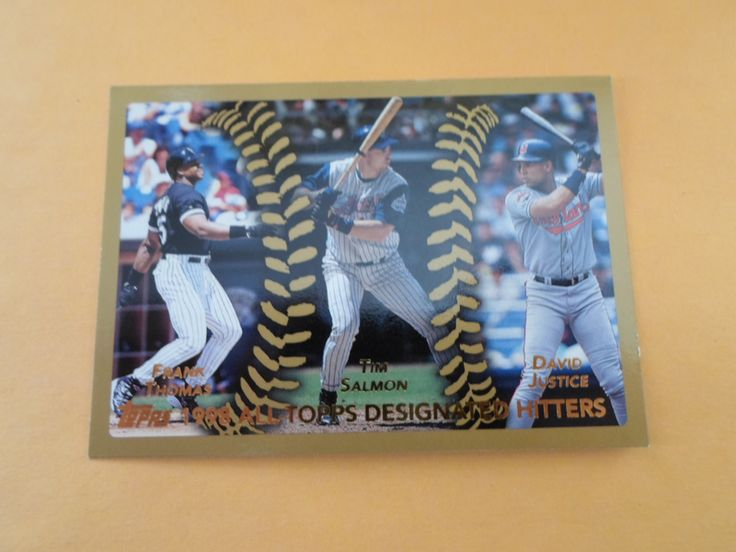 1999 topps 1998 all- topps designated hitters thomas, salmon, & justice # 456