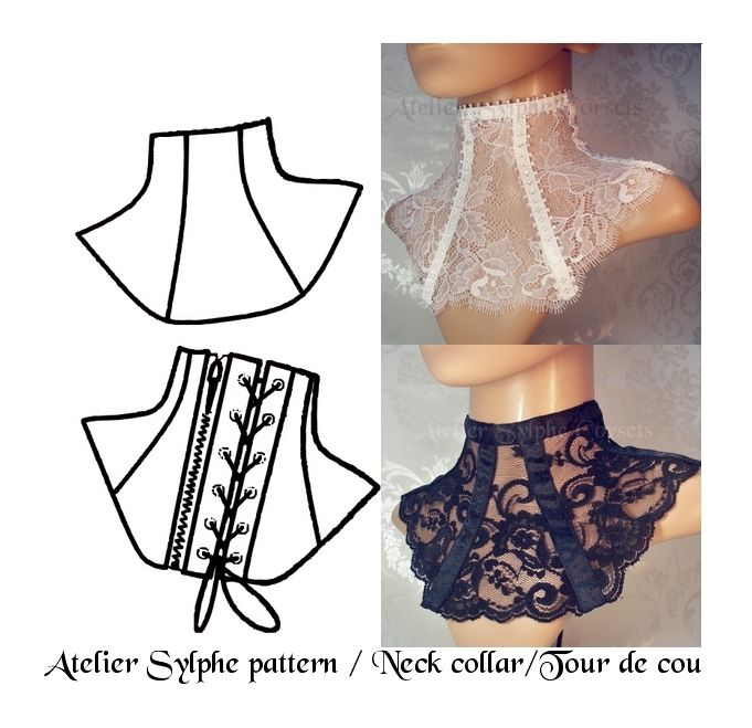 2 Patronages de tour de cou minerves avec glissière zip et ou laçage : Patrons par atelier-sylphe-corsets