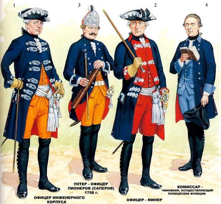 Prussian military engineers, mid 18th century.