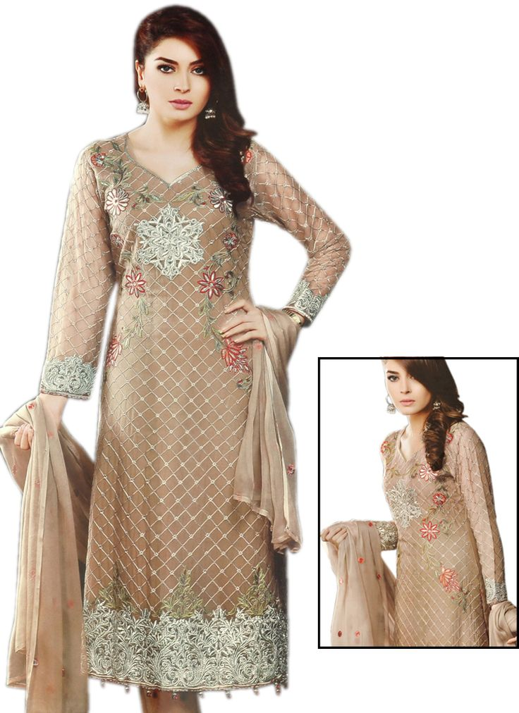 Ravishing Beige Coloured Georgette Embroidery Indian Designer Suit At Best Price By Uttamvastra - Try Something New Today