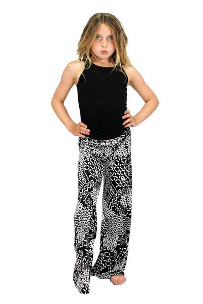 A fun funky pattern on comfortable and cute palazzo pants!