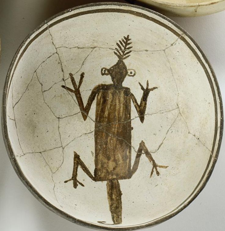 A Mimbres black-on-white pictorial bowl. Morningstar Gallery, Santa Fe.  AMERICAN INDIAN ART INCLUDING PROPERTY FROM THE ESTATE OF PAUL PERALTA-RAMOS 24 JUNE 2004 NY.