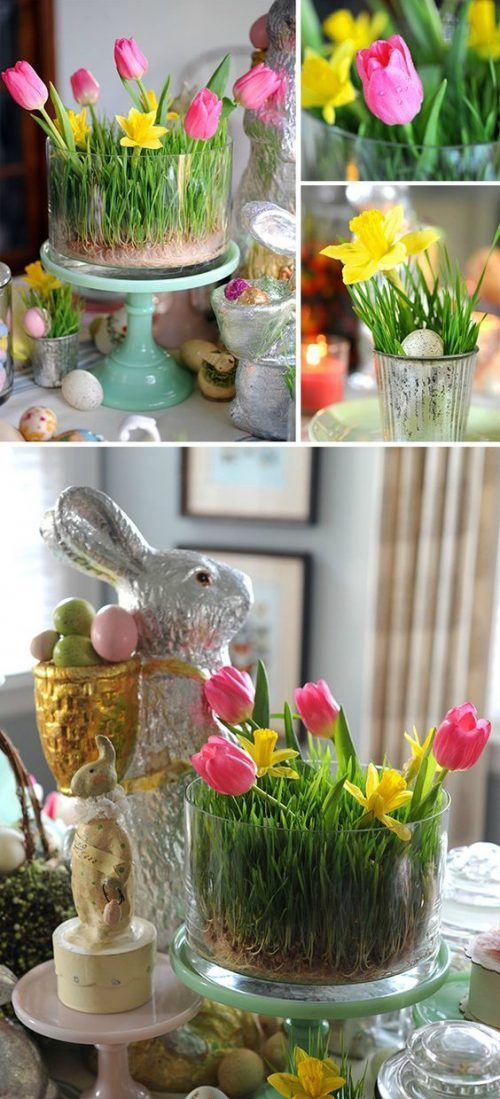 Don't just use tulips in a vase, accent your Spring Flower Centerpiece with planted grass too. More Spring & Easter Home Decor Ideas on Frugal Coupon Living.