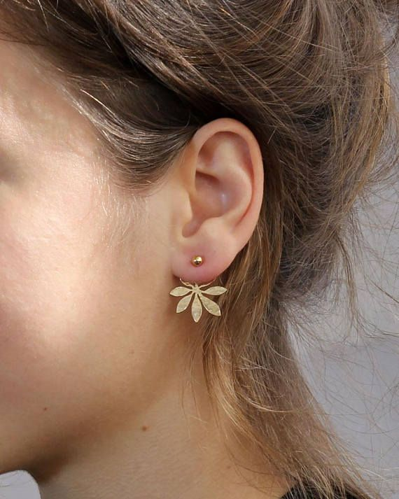 c11037532 Gold Ear Jackets , 4mm ball stud Stud with a Hammered flower Jacket ,gold  stud