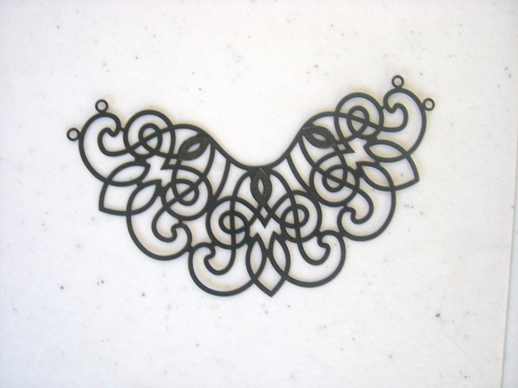 Large Filigree Necklace Component, Black Plated Brass (2). $3.50, via Etsy.