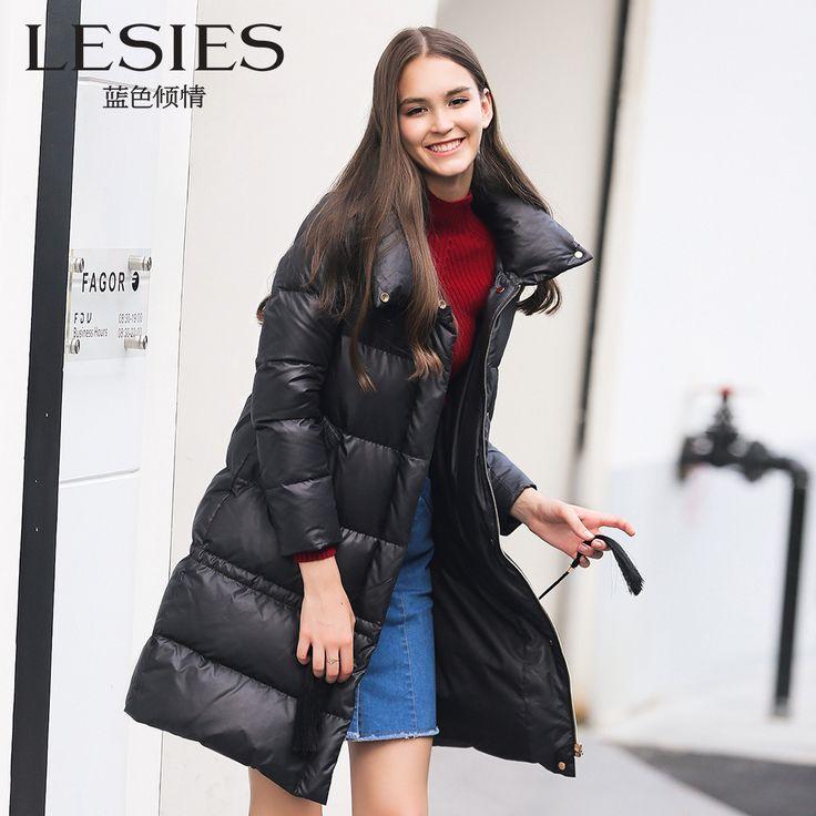 LESIES Down Jacket Women Long Winter Coat Female Fashion Warm Parkas Women's Down Coat Plus Size Turtleneck Overcoat  LS868204