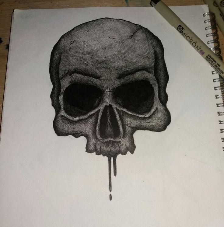 Fineliner skull, all cross hatching