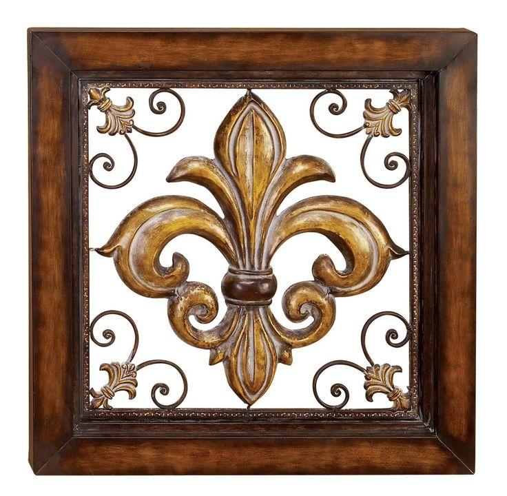 large square fleur de lis metal accent w copper finish. Black Bedroom Furniture Sets. Home Design Ideas
