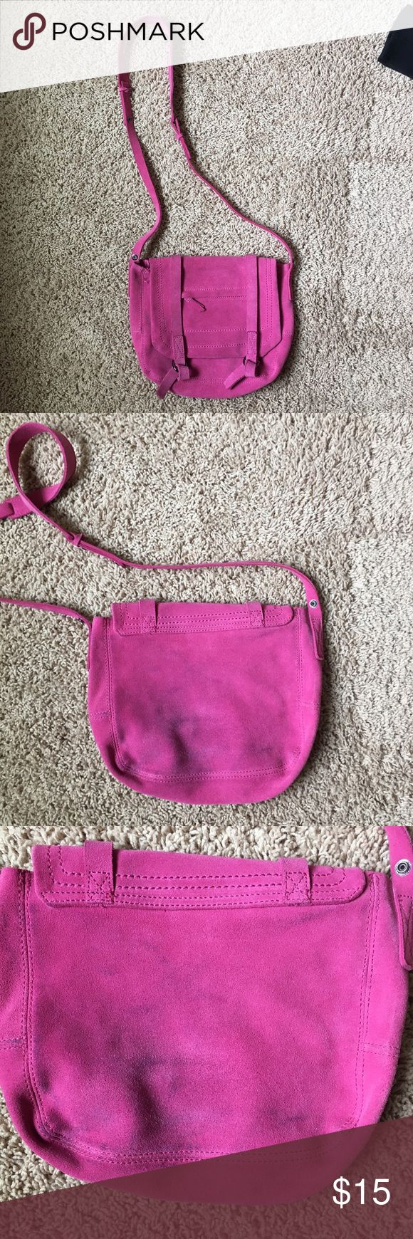 GAP Fuschia Suede Crossbody GAP Crossbody in a soft, Slouchy Boho style. Only used once and you can see from pics my demin left some marks. The front of the bag looks great - back has the marks from demin GAP Bags Crossbody Bags