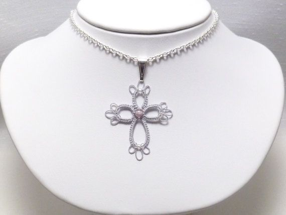 Tatted jewelry Cross pendant in silver with glass by SnappyTatter, $10.50