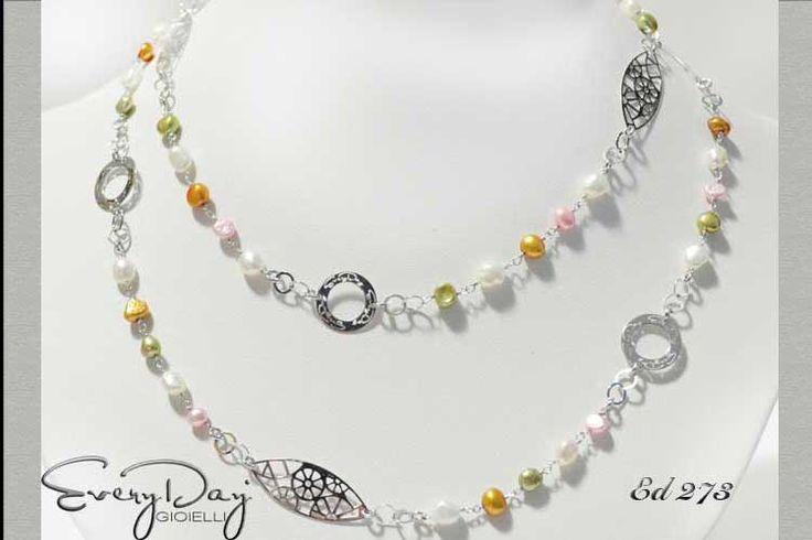 #Collana #argento #perle #silver #everydaygioielli $186 la trovi su  www.fashiongoldgioielli.com
