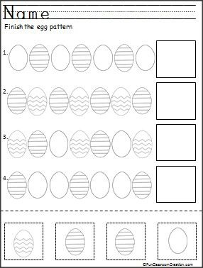 Finish the Easter egg patterns. This is a free color, cut, and paste pattern worksheet for Kindergarten.