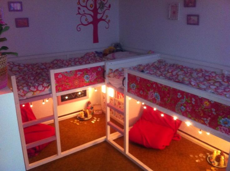 Painted ikea kura bed add wallpaper and christmas lights Futon for kids room