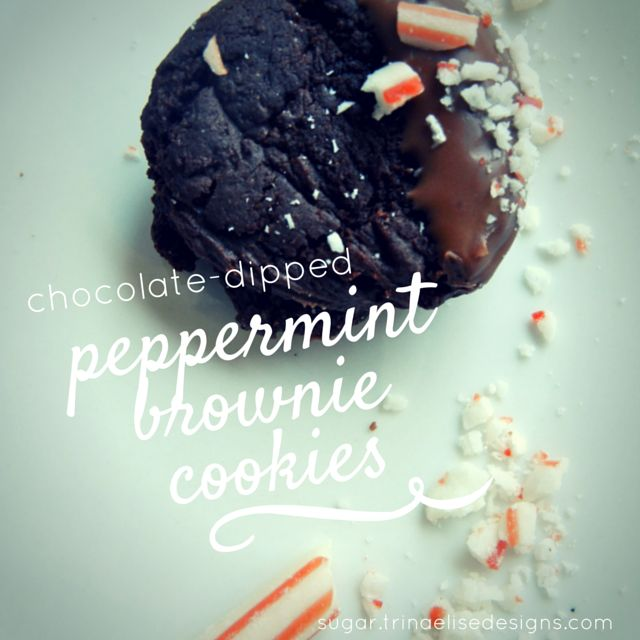 Festive bites of chocolatey-brownie goodness dipped in milk chocolate and sprinkled with crushed candy cane - nothing says the holidays quite like peppermint! These treats get a double-dose of cheer with peppermint extract and peppermint candy garnish.  http://sugar.trinaelisedesigns.com/chocolate-dipped-peppermint-brownie-cookies/  #sugar. #peppermint #holidaycookies