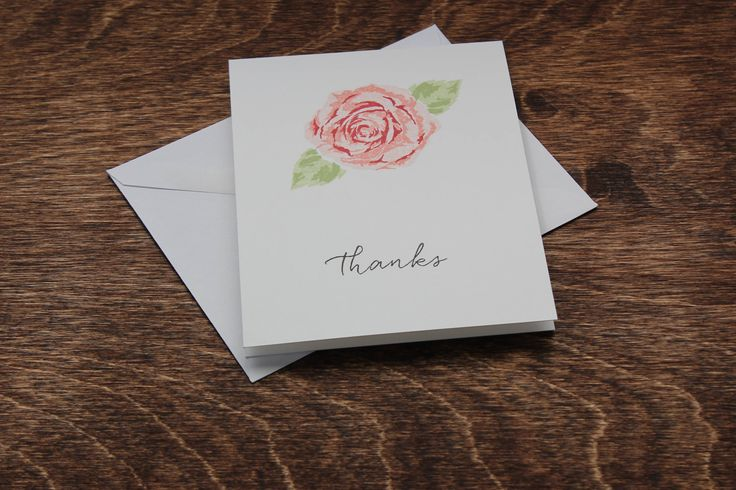 Thank You Cards Flower Thank You Cards Pink Rose Cards Wedding Thank You Cards Bridal Shower Thank You Cards Thank You Card Set A2 Card Set