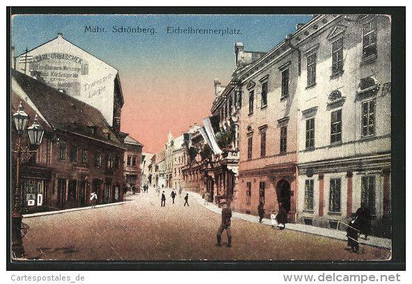 CPA Mähr. Schönberg, Eichelbrennerplatz Avec Des Passants - Tchéquie