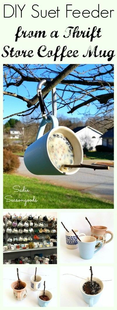 Create a simple, effective suet bird feeder for your yard this winter by repurposing a thrift store coffee mug. Simply melt the suet (beef fat and seed mixture), pour into the mug, and add a stick for a perch. Hang from a tree and watch the birds enjoy it all winter long...this is a great DIY project to have the kids help with then they're bored! Fun, easy, wonderful thrift store upcycle and repurpose craft project from #SadieSeasongoods / http://www.sadieseasongoods.com