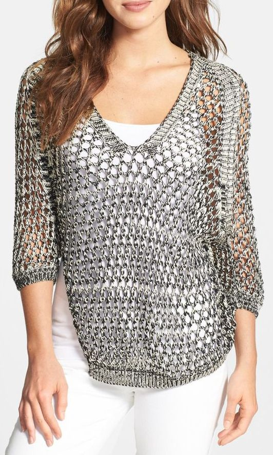 Nikki Rich Open Stitch V-Neck Sweater