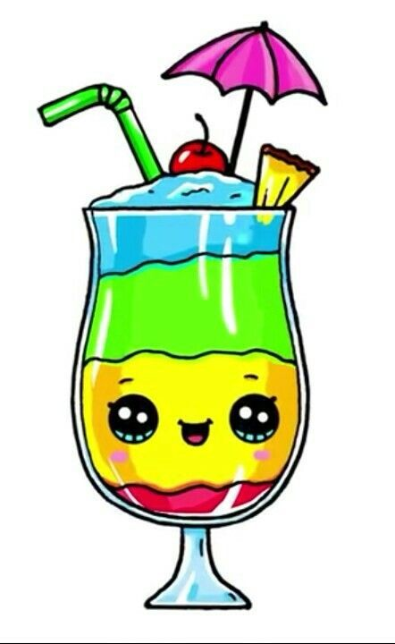 Bebida Arco-Iris Kawaii Ideias de Desenho