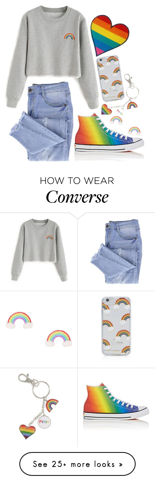 """pride"" by summersunflower7 on Polyvore featuring Converse, Essie, Sonix, denim, rainbow, Sweatshirt, pride and distressedjeans"
