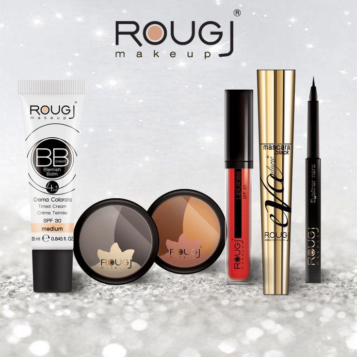 Make-Up ROugj BB Cream Eye Shadows Lip-gloss Black Mascara Eye-liner