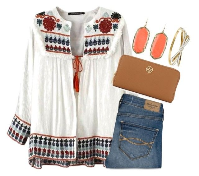 """""""Boho"""" by preppy-horsegirl ❤ liked on Polyvore featuring Abercrombie & Fitch, Tory Burch, Kendra Scott and Kate Spade"""