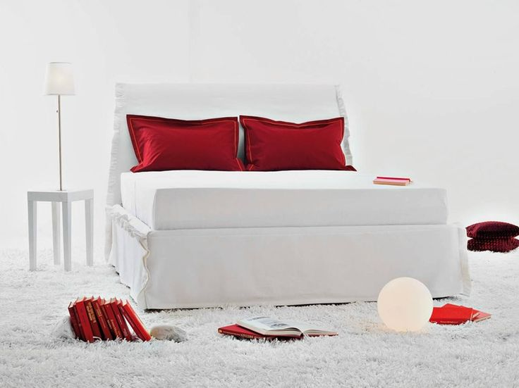 Fabric bed with high headboard VOLA by HORM.IT