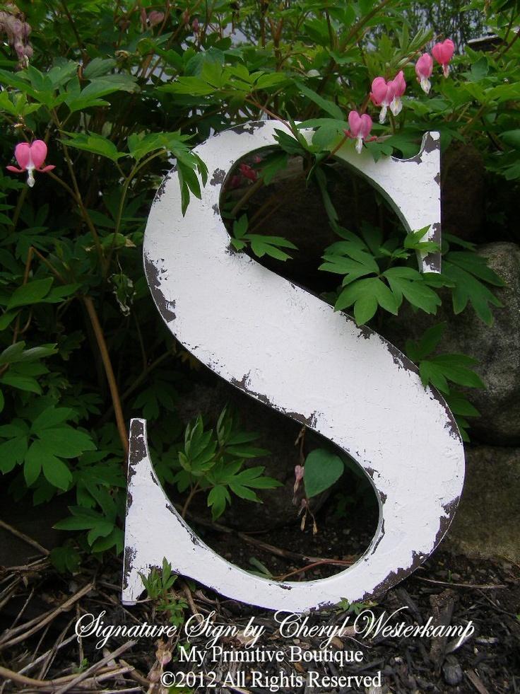 Shabby Chic Wooden Letter, Cottage Decor, Cottage Signs, The Letter S, Choose ANY Letter, ABCDEFGHIJKLMNOPQRSTUVWXYZ