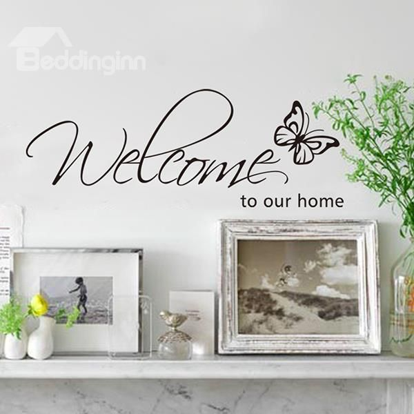 Words And Quotes Curlicues Welcome To Our Home Removable Wall Sticker
