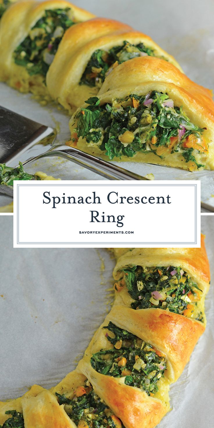 Spinach Crescent Ring is an easy brunch idea or appetizer recipe using spinach, bell pepper, onion, herbs and cheese. It is a hit at all of my parties...