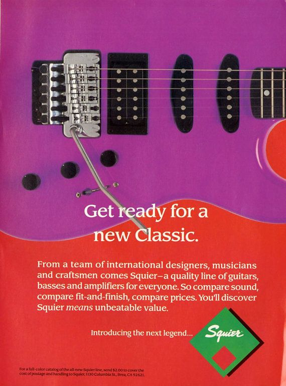 1989 Squier Guitar Pin Up  Billy Squier  The by MusicSellerz