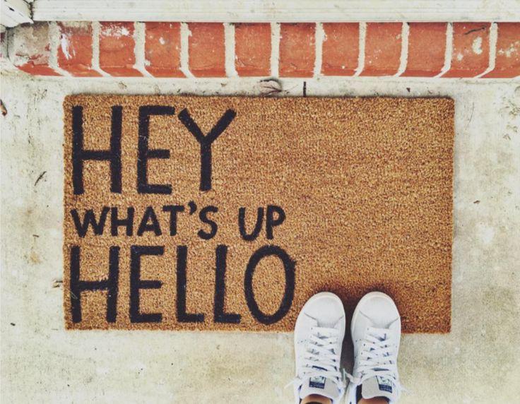 hey whats up hello welcome mat fun paint doormat