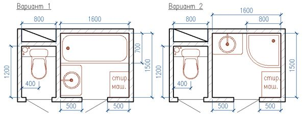Расстановка сантехнике в раздельном санузле