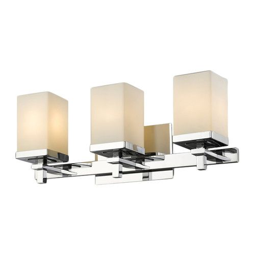 Features:  -Clean, modern design suitable for transitional to contemporary homes.  -Square Opal Glass shades create a clean, modern look.  -3 Light Bath Vanity.  -Fixture cannot accept LED bulbs.  Pro