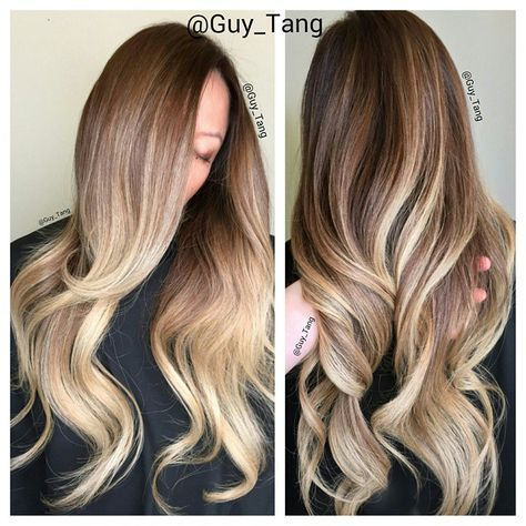 Hair , 4 month old color. Root retouch using @kenra balayage ombre by Guy
