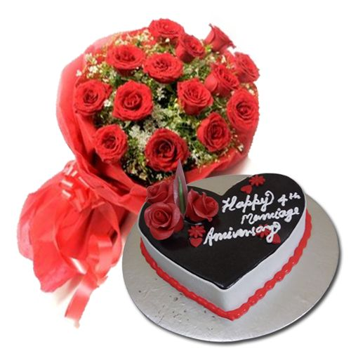 chocolate Truffle eggless cake with 15 Red Rose Bunch #CakewithFlower #ChocolatecakewithFlower #Yummycake