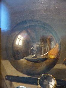 Pieter Claesz, Vanitas with Violin and Glass Ball, the artist is visible in the reflection, 1625.