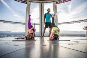 View Of Group Doing Yoga Inside A Pod At The High Roller At The Linq Las Vegas